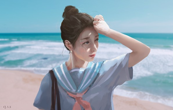 Картинка море, девушка, школьница