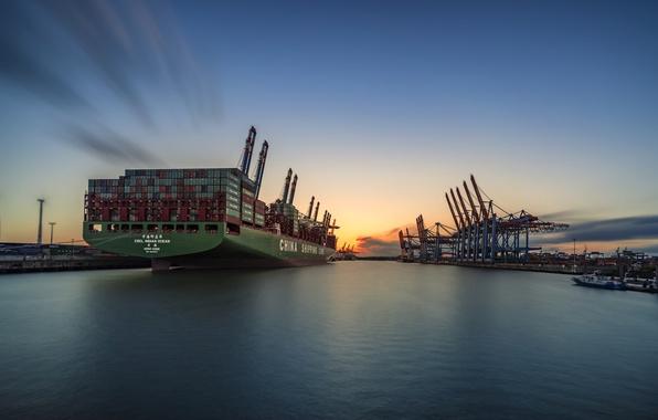 Картинка закат, город, корабль, порт
