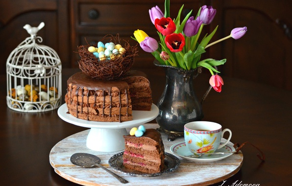 Картинка чай, тюльпаны, торт, кусок