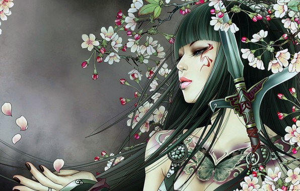 Картинка girl, sword, fantasy, weapon, blue eyes, butterfly, flowers, lips, face, brunette, digital art, artwork, piercing, …