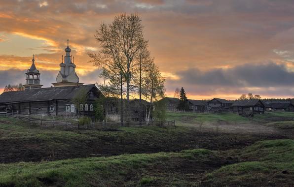 Картинка деревня, храм, Архангельская область, Кимжа