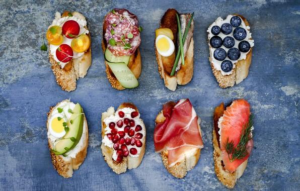Картинка ягоды, рыба, сыр, овощи, бутерброды, ветчина, салями, брускетта, brushetta