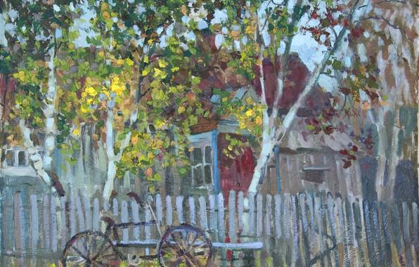 Картинка деревья, велосипед, дом, забор, графика, весна, лавочка, Живопись, дача, загород, Светлана Нестерова