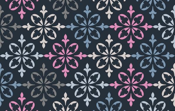 Картинка цветы, ретро, узор, текстура, орнамент, синий фон