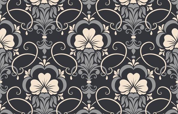 Картинка цветы, фон, узор, vector, текстура, texture, background, pattern, seamless, damask