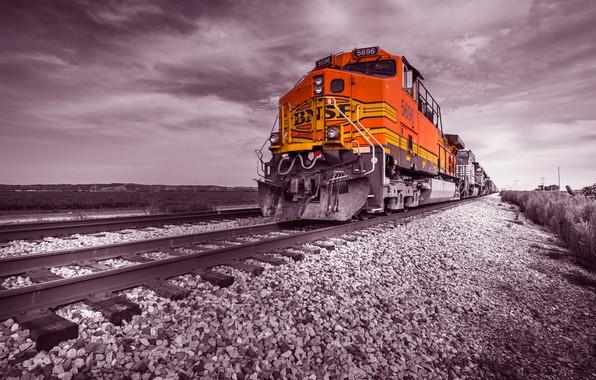 Картинка рельсы, поезд, железная дорога, локомотив