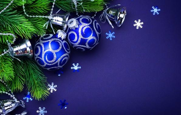 Картинка Лента, Шары, Рождество, Новый год, Украшение, Праздник, Ветки ели