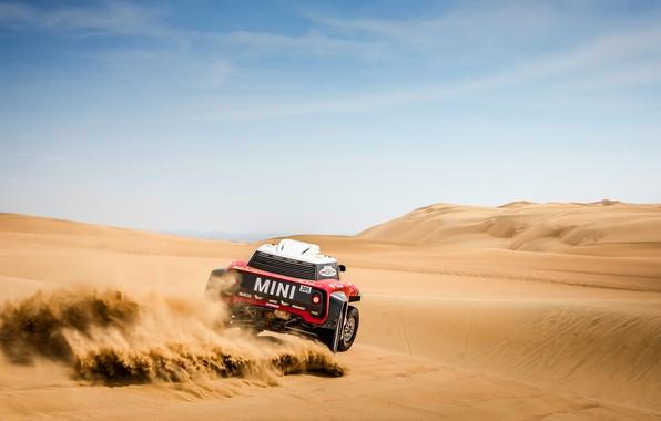 Картинка Небо, Песок, Mini, Спорт, Пустыня, Rally, Dakar, Дакар, Ралли, Мини, Дюна, Buggy, Багги, X-Raid Team, …