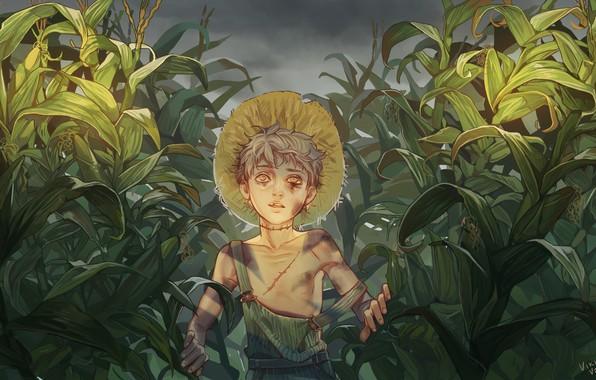 Картинка жертва, мальчик, слёзы, art, шрамы, насилие, избиение, кукурузное поле, синяк, бедный, Vikivak