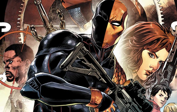 Картинка girl, sword, pistol, fantasy, comics, weapons, mask, superhero, DC Comics, sight, machine gun, Deathstroke