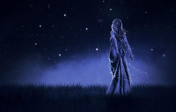 Картинка Девушка, Ночь, Платье