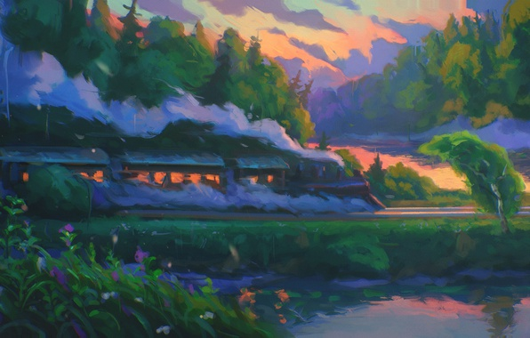 Картинка лес, небо, деревья, закат, река, дым, паровоз, арт