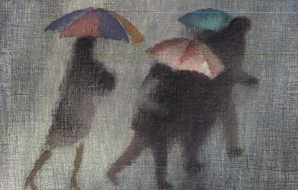 Картинка осень, зонты, серый фон, чёрные фигуры, Роберт Макинтош, проливной дождь