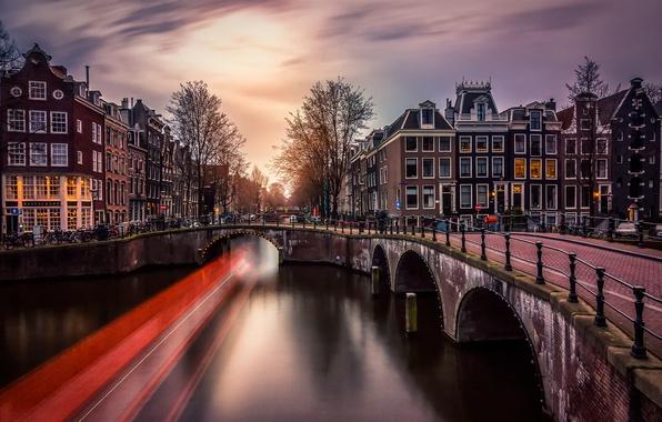 Картинка свет, мост, город, огни, вечер, выдержка, Амстердам, канал, Нидерланды