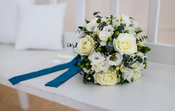 Картинка розы, white, белые розы, свадебный букет, roses, wedding