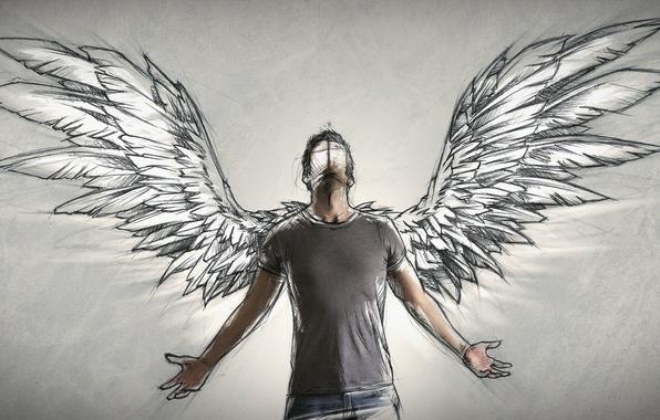 фото мужчины ангела с крыльями