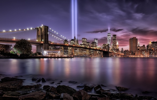 Картинка ночь, город, огни, вечер, США, Нью - Йорк