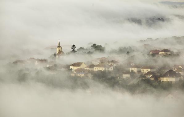 Картинка туман, утро, церковь, городок, поселок