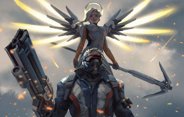 Картинка gun, game, soldier, mecha, weapon, rifle, mask, seifuku, Overwatch, Mercy, Soldier 76, agel, by wlop
