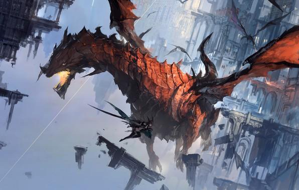 Картинка fire, girl, fantasy, flying, wings, battle, digital art, buildings, artwork, fantasy art, jaws, Dragons