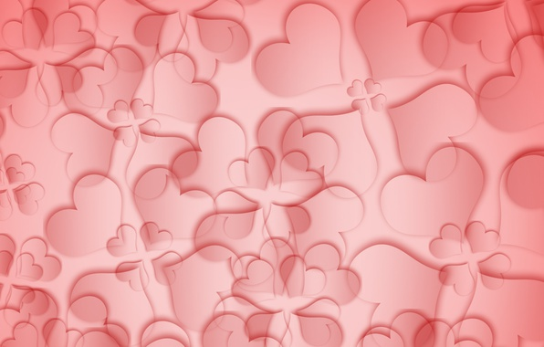 Картинка red, love, flower, texture, pink, background, leafs, hearts, abstraction