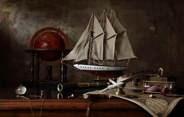 Картинка корабль, карта, парусник, натюрморт, глобус, история, Меркатор, Натюрморт с парусным кораблем