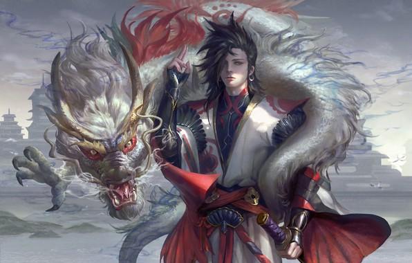 Картинка оружие, дракон, япония, фэнтези, арт, парень