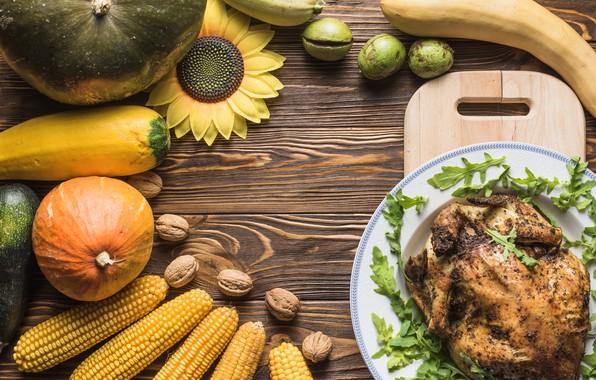 Картинка зелень, стол, подсолнух, курица, кукуруза, тыква, орехи