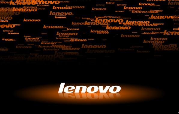 Картинка подсветка, logo, black, orange, Lenovo