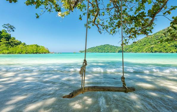 Картинка песок, море, пляж, природа, океан, summer, beach, sea, sunset, island, Maldives, crystal, sand beach, tropical, …