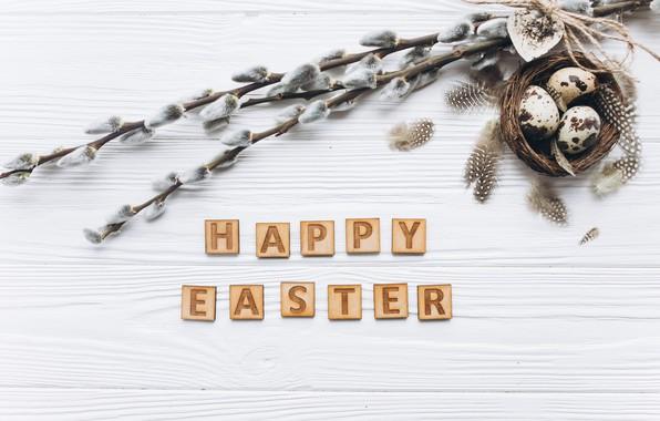 Картинка праздник, весна, Пасха, wood, верба, декор, eggs, Easter compositions