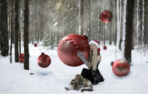 Картинка лес, девушка, праздник, шары, игрушки