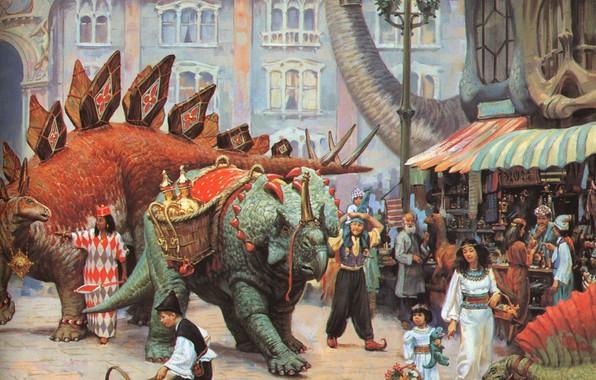 Картинка динозавры, базар, фантастическая живопись ХХ века, JAMES GURNEY