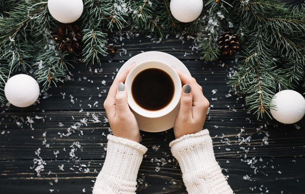 Картинка шарики, тепло, елка, кофе, руки