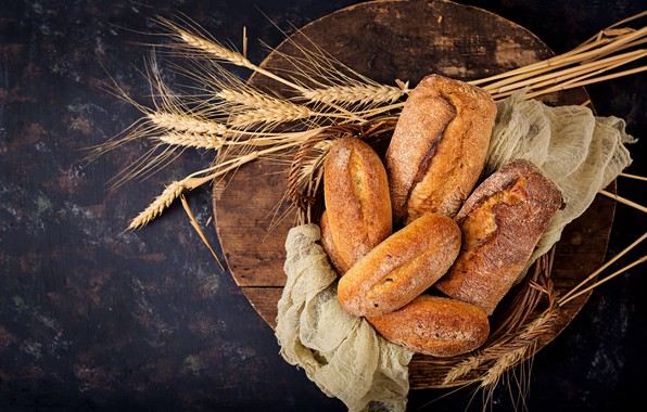 Фото обои Корзина, колосья, выпечка, Хлеб
