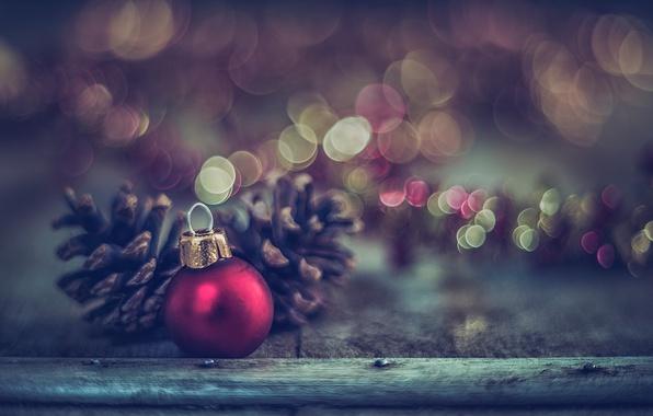 Картинка макро, украшения, игрушка, доски, новый год, шарик, боке