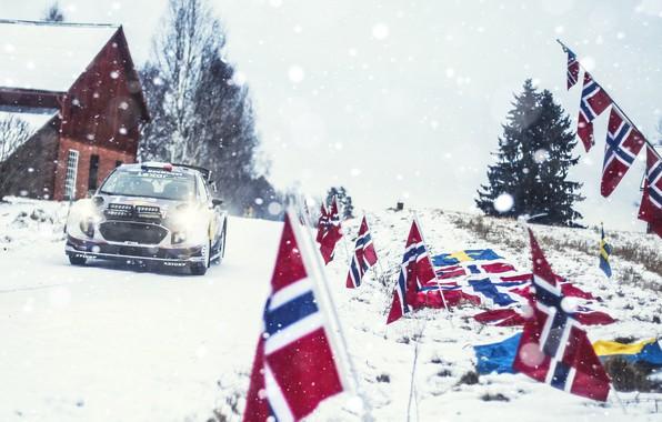 Картинка Ford, Зима, Авто, Снег, Спорт, Машина, Форд, Гонка, Норвегия, Флаги, Фары, Автомобиль, WRC, Rally, Ралли, …