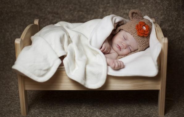 Картинка сон, малыш, одеяло, ребёнок, шапочка, младенец, кроватка