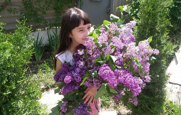 Картинка Цветы, Букет, Девочка, Сирень, Радость, Счастье