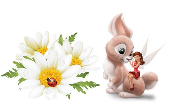 Картинка цветы, роса, божья коровка, ромашка, фея, арт, зайчик, детская, princess, Tinker Bell Fairies