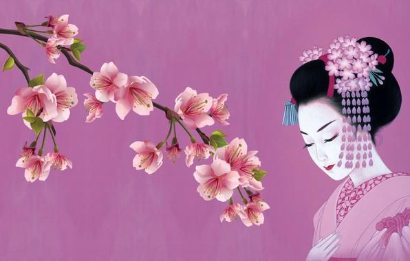 Картинка девушка, японка, весна, сакура, арт, кимоно, традиция, канзаши
