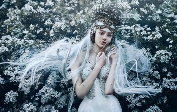 Картинка девушка, цветы, поза, стиль, настроение, руки, принцесса, длинные волосы, голубые волосы, Bella Kotak