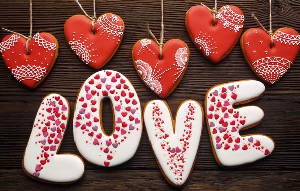 Картинка любовь, романтика, сердечки, red, love, wood, romantic, hearts, Valentine's Day, gift, cookies