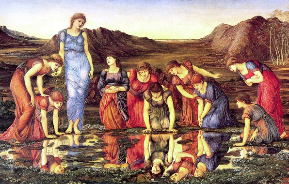 Картинка девушки, зеркало, лужа, Edward, 1875, Sir Edward Burne-Jones, The_Mirror_of_Venus
