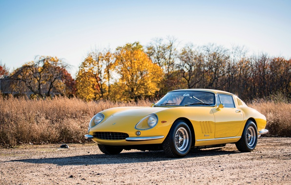 Фото обои Автомобиль, GTB, Ретро, Желтый, Металлик, Ferrari, 275, 1965-66, Acciaio
