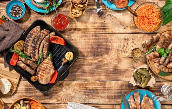 Картинка мясо, барбекю, овощи, wood, meat, гриль, grilled