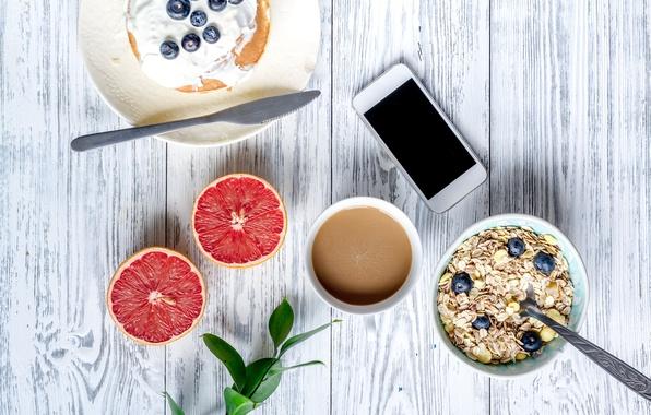 Картинка ягоды, завтрак, черника, мед, блины, wood, грейпфрут, breakfast, мюсли, phone