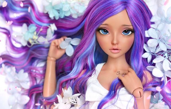 Картинка девушка, цветы, волосы, кукла
