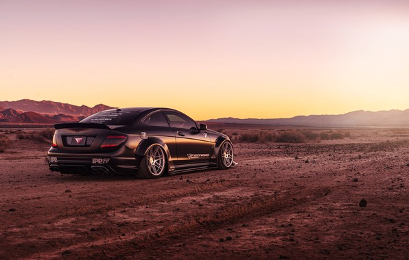Картинка дизайн, стиль, черный, пустыня, Mercedes, автомобиль