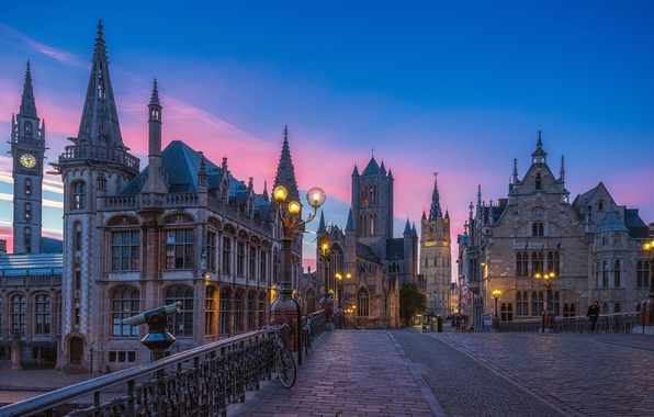 Картинка небо, закат, улица, фонари, Бельгия, evening, street, houses, Belgium, Гент